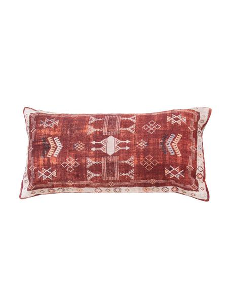 Funda de cojín Tanger, estilo boho, 100%algodón, Rojo, beige, An 30 x L 60 cm
