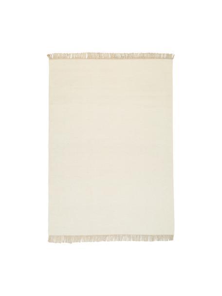 Alfombra artesanal de lana Rainbow, Flecos: 100%algodón, Blanco crudo, beige, An 140 x L 200  cm(Tamaño S)