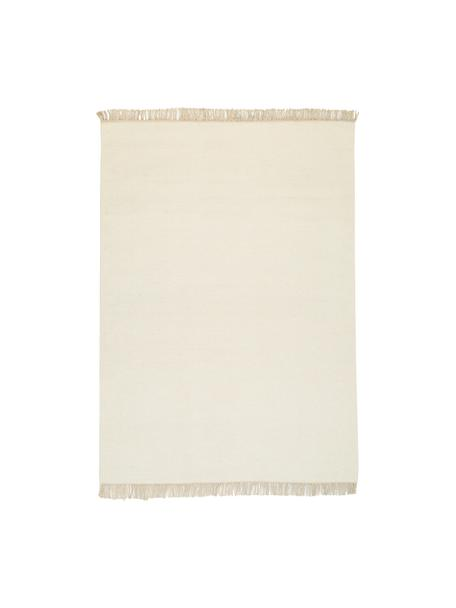 Ręcznie tkany dywan z wełny z frędzlami Rainbow, Naturalny biały, S 140 x D 200 cm (Rozmiar S)