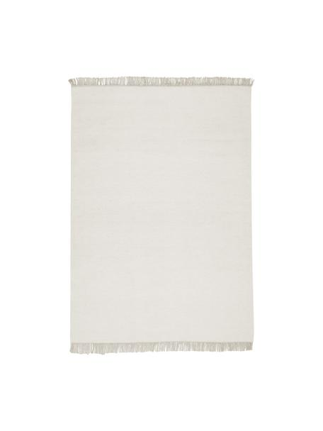 Alfombra kilim artesanal de lana con flecos Rainbow, Flecos: 100%algodón Las alfombra, Blanco crudo, beige, An 140 x L 200 cm (Tamaño S)