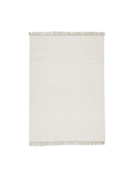 Handgeweven wollen vloerkleed Rainbow in gebroken wit met franjes, Franjes: 100% katoen, Natuurwit, B 140 x L 200 cm (maat S)