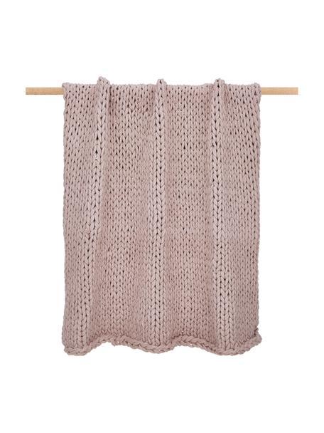 Handgemaakte grof gebreide deken Adyna in oudroze, 100% polyacryl, Oudroze, 130 x 170 cm