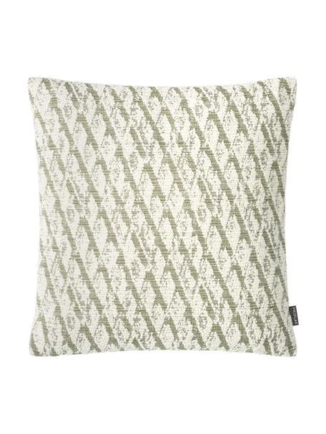 Kissenhülle Illinois in Grün/Weiß mit grafischem Muster, 45% Polyacryl, 34% Polyester, 21% Polypropylen, Grün, Weiß, 40 x 40 cm
