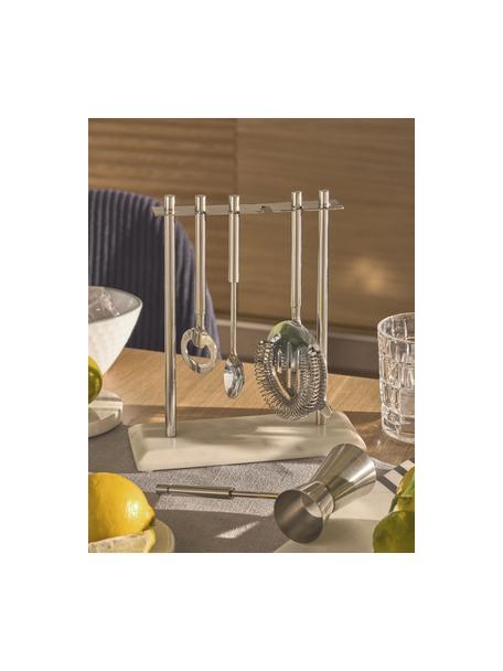 Cocktail-Set Aniceli, 5-tlg., Sockel: Marmor, Weiss marmoriert, Stahl, Set mit verschiedenen Grössen