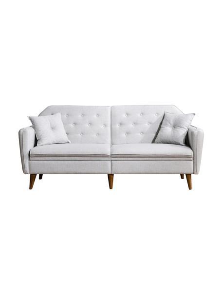 Sofa z funkcją spania (3-osobowa) Terra, Tapicerka: len, Stelaż: drewno rogowe, metal, Nogi: drewno naturalne, Beżowy, S 202 x G 83 cm