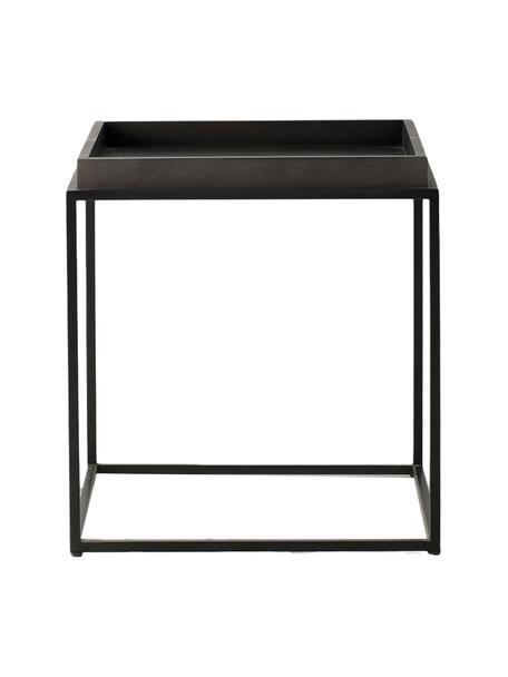 Bijzettafel Forden van hout en metaal, Tafelblad: MDF, fineer en gelakt, Frame: gelakt metaal, Zwart, 55 x 60 cm