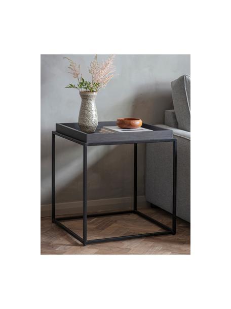 Bijzettafel Forden van hout en metaal in zwart, Tafelblad: MDF, fineer en gelakt, Frame: gelakt metaal, Zwart, 55 x 60 cm