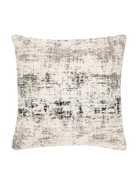 Federa arredo vintage Corinne, Retro: 100% cotone, Bianco crema, nero, grigio, Larg. 45 x Lung. 45 cm
