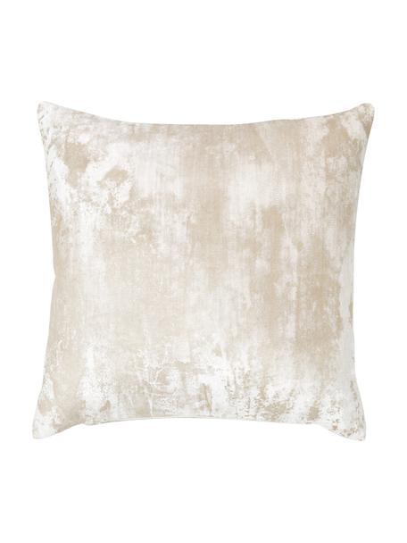 Samt-Kissenhülle Shiny mit schimmerndem Vintage Muster, 100% Polyestersamt, Creme, 40 x 40 cm
