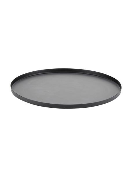 Plat decoratief dienblad Classico van metaal, Metaal, Zwart, Ø 25 x H 1 cm