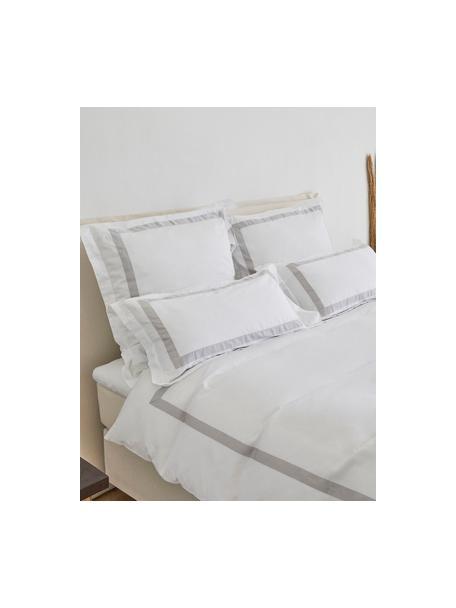 Poszewka na poduszkę z satyny bawełnianej Nora, 2 szt., Biały, jasny szary, S 40 x D 80 cm