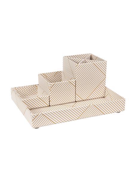 Büro-Organizer-Set Lena, 4-tlg., fester, laminierter Karton, Goldfarben, Weiss, Set mit verschiedenen Grössen