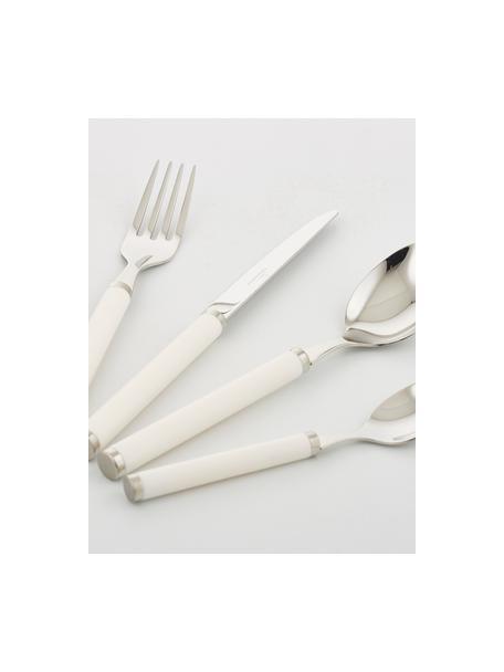 Cubertería de acero inoxidable Play! White Pearl, 6comensales (24pzas.), Acero inoxidable 18/10, plástico, Acero inoxidable, crema, Set de diferentes tamaños