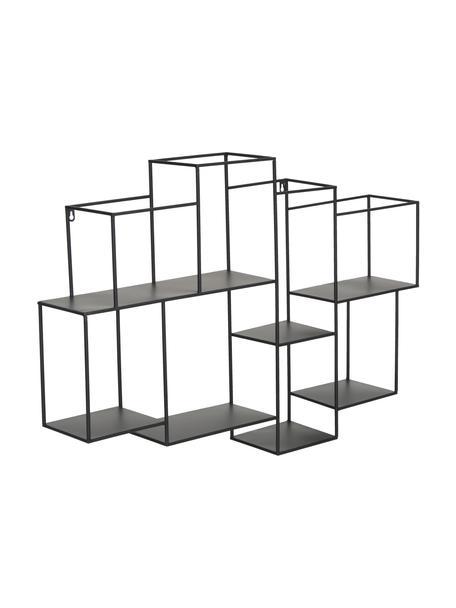 Półka ścienna z metalu z metalu z 8 przedziałami Parnke, Metal malowany proszkowo, Czarny, S 98 x W 68 cm