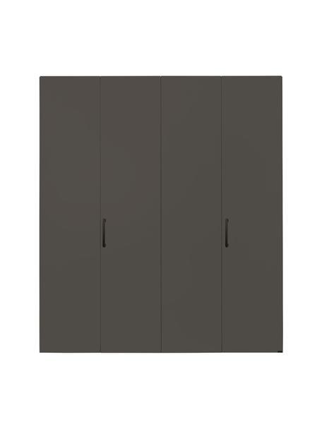 Kledingkast Madison in grijs, 4 deuren, Frame: panelen op houtbasis, gel, Grijs, 202 x 230 cm