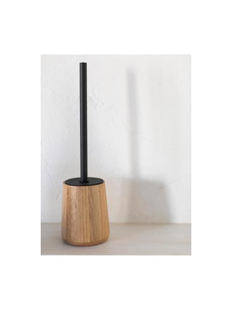 Toilettenbürste Battersea, Behälter: Eichenholz, Griff: Metall, Eichenholz, Schwarz, Ø 11 cm