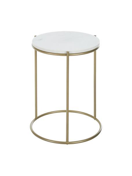Mesa auxiliar redonda de mármol Ella, Tablero: mármol natural, Estructura: metal con pintura en polv, Mármol blanco grisáceo, dorado, Ø 40 x Al 50 cm