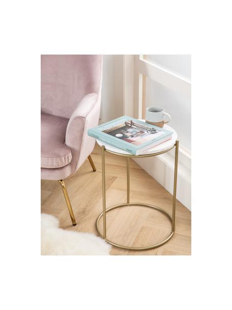 Runder Marmor-Beistelltisch Ella, Tischplatte: Marmor, Gestell: Metall, pulverbeschichtet, Weisser Marmor, Goldfarben, Ø 40 x H 50 cm