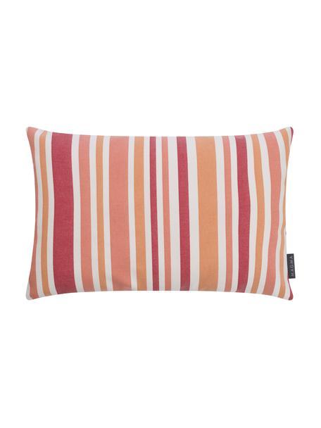 Gestreepte outdoor kussenhoes Marbella, 100% Dralon® polyacryl, Oranje, wit, rozetinten, 40 x 60 cm