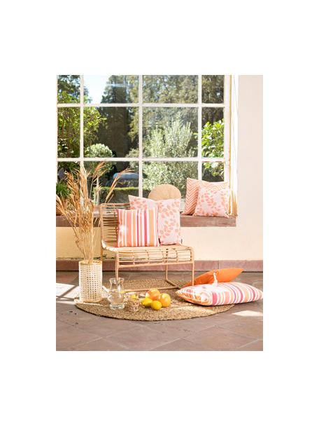 Gestreifte Outdoor-Kissenhülle Marbella, 100% Dralon® Polyacryl, Orange, Weiss, Rosatöne, 40 x 60 cm