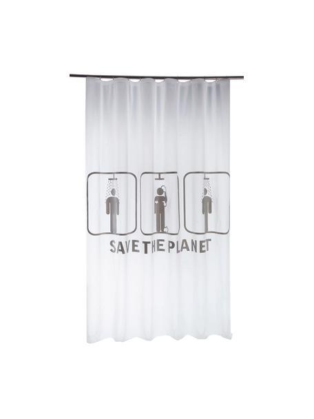 Zasłona prysznicowa Save the Planet, Biały, szary, S 180 x D 200 cm