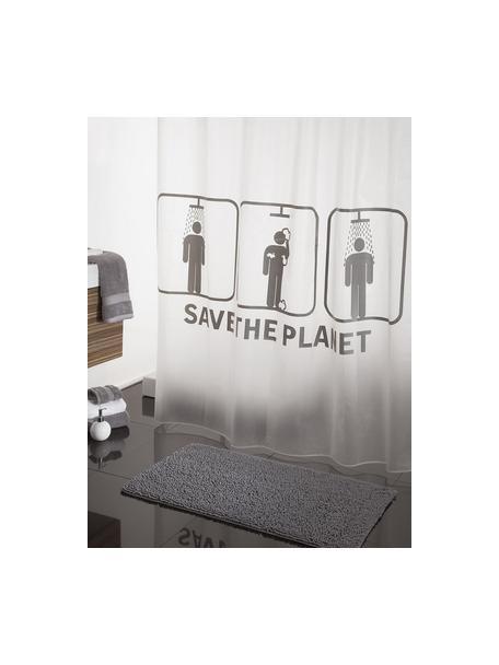 Duschvorhang Save the Planet, Weiß, Grau, 180 x 200 cm