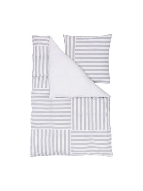Pościel z bawełny Kathia, Szary, biały, 135 x 200 cm + 1 poduszka 80 x 80 cm