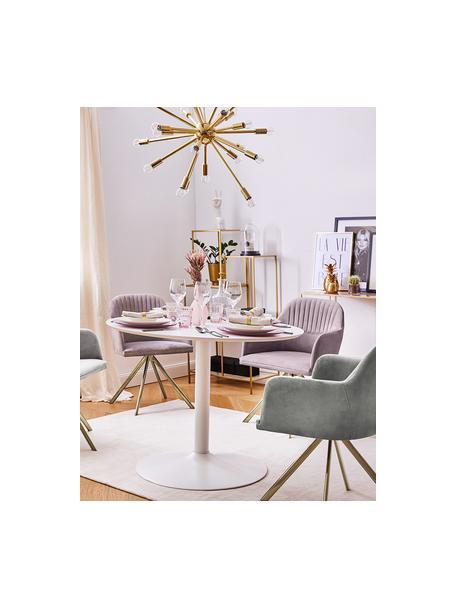 Fluwelen draaistoel Lola, Bekleding: fluweel polyester, Poten: gegalvaniseerd metaal, Fluweel mauve, poten goudkleurig, B 58 x D 53 cm