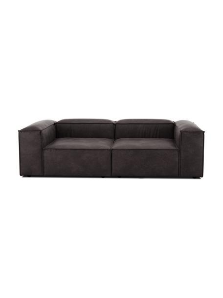 Modułowa sofa ze skóry z recyklingu Lennon (3-osobowa), Tapicerka: skóra pochodząca z recykl, Stelaż: lite drewno sosnowe, skle, Nogi: tworzywo sztuczne Nogi zn, Szary brązowy, S 238 x G 119 cm