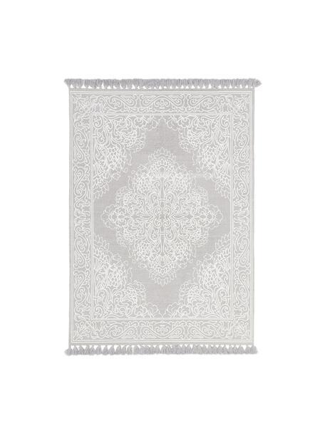 Gemusterter Baumwollteppich Salima mit Quasten, handgewebt, 100% Baumwolle, Hellgrau, Cremeweiß, B 120 x L 180 cm (Größe S)