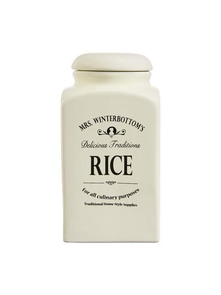 Opbergpot Mrs Winterbottoms Rice, Keramiek, Crèmekleurig, zwart, Ø 11 cm