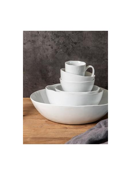 Ovale kom Porcelino met oneven oppervlak, B 33 x D 37 cm, Porselein, bewust ongelijk, Wit, B 33 x D 37 cm