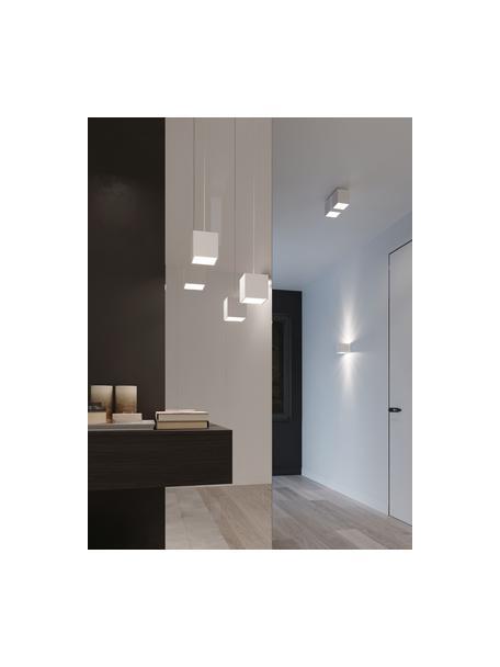 Applique bianca Quad, Paralume: alluminio verniciato a po, Bianco, Larg. 10 x Alt. 10 cm