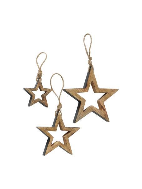 Stern-Anhänger Paimio, 3 Stück, Holz, beschichtet, Braun, Schwarz, Set mit verschiedenen Größen