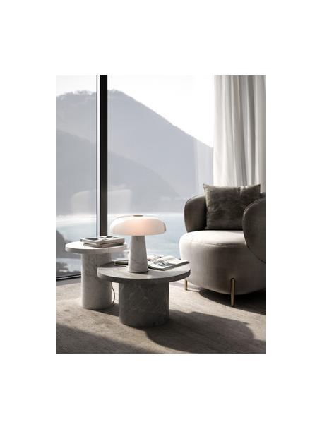 Lámpara de mesa de mármol Glossy, Pantalla: vidrio, Cable: cubierto en tela, Blanco, Ø 32 x Al 32 cm