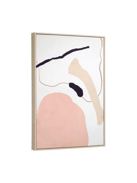 Ingelijste digitale print Xooc, Lijst: gecoat MDF, Afbeelding: canvas, Roze, wit, beige, zwart, 60 x 90 cm