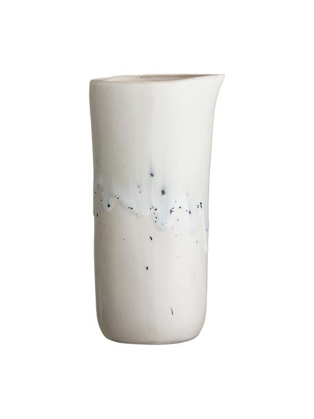 Handgemaakte keramische melkkan Heather met blauwe gvlekken, 150 ml, Keramiek, Wit, blauw, Ø 7 x H 18 cm