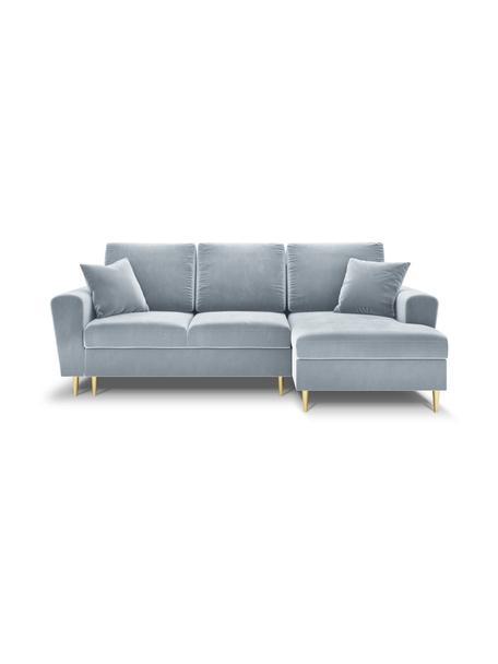 Sofa narożna z aksamitu z funkcją spania i miejscem do przechowywania Moghan (4-osobowa), Tapicerka: 100% aksamit poliestrowy , Nogi: metal powlekany, Jasny niebieski, S 236 x G 145 cm