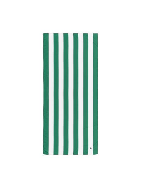 Microfaser-Strandtuch Cabana, schnell trocknend, Microfaser (80% Polyester, 20% Polyamid), Grün, Weiss, 90 x 200 cm