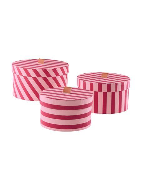 Komplet pudełek do przechowywania Dizzy, 3 elem., Tektura, Różowy, Komplet z różnymi rozmiarami