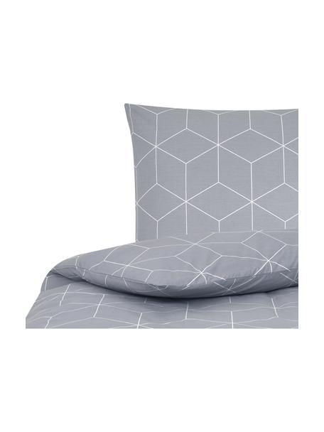 Baumwoll-Bettwäsche Lynn mit grafischem Muster, Webart: Renforcé Fadendichte 144 , Grau, Cremeweiss, 135 x 200 cm + 1 Kissen 80 x 80 cm