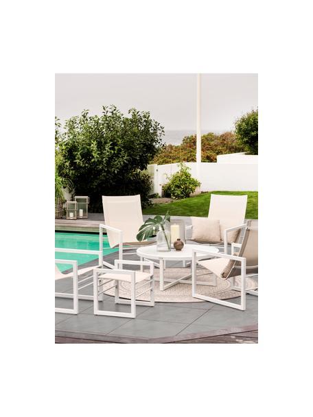 Tavolino da giardino in alluminio bianco Vevi, Alluminio verniciato a polvere, Bianco, Ø 100 x Alt. 40 cm