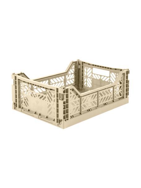 Klappbox Boulder, stapelbar, medium, Recycelter Kunststoff, Beige, 40 x 14 cm