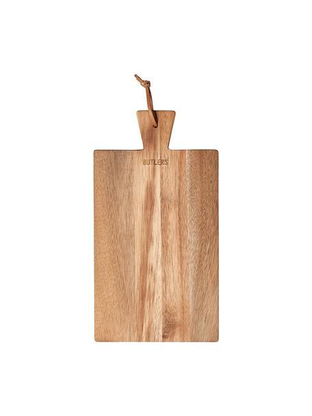 Akazienholz-Schneidebrett Cutting Crew mit Lederschlaufe, verschiedene Größen, Akazienholz, 17 x 32 cm
