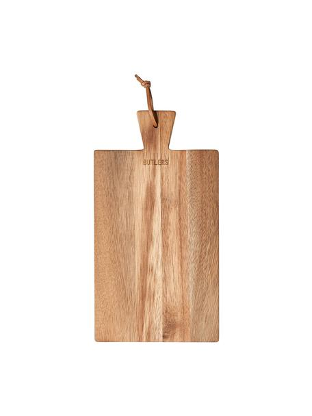 Snijplank Cutting Crew met leren lus, Ophanglus: leer, Acaciahoutkleurig, B 32 x D 17 cm