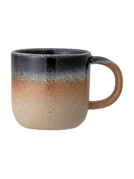 Ręcznie wykonany kubek Aura, Porcelana, Odcienie beżowego, odcienie niebieskiego, Ø 8 x W 8 cm