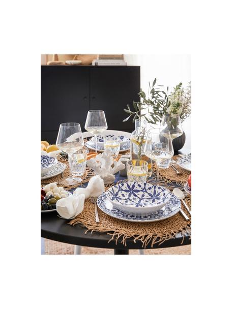 Serviesset met patroon Bodrum in blauw/wit, 6 personen (18-delig), Porselein, Blauw, wit, Set met verschillende formaten