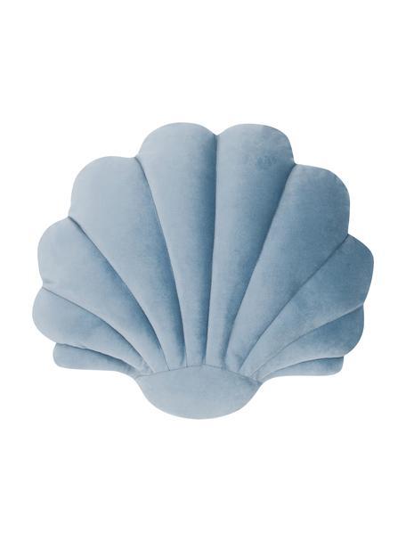 Cojín de terciopelo Shell, Parte delantera: 100%terciopelo de algodó, Parte trasera: 100%algodón, Azul claro, An 32 x L 27 cm