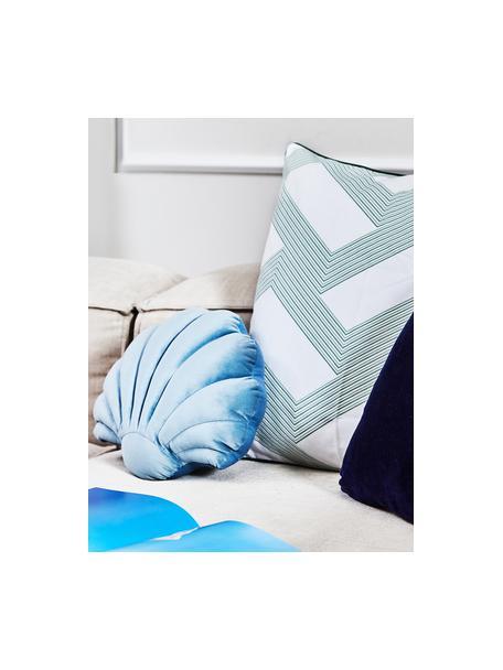 Fluwelen kussen Shell in schelp vorm, Lichtblauw, 30 x 28 cm