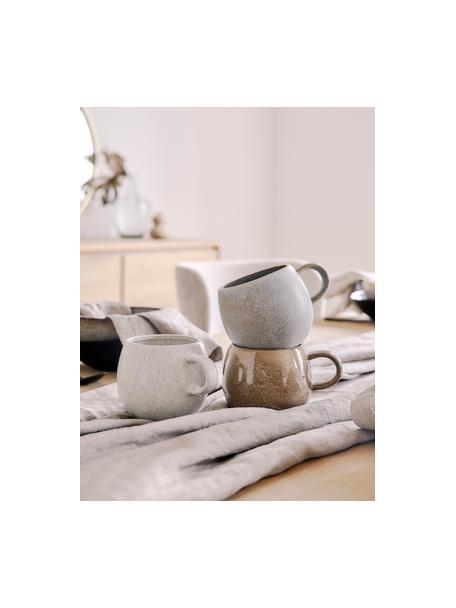 Tazas de té artesanales Addison, 3uds., Gres, Gris, beige, blanco, Ø 11 x Al 10 cm